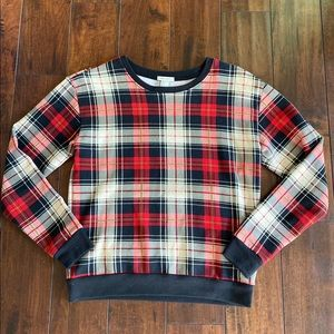 Forever 21 Red Black Plaid Pullover Sweatshirt